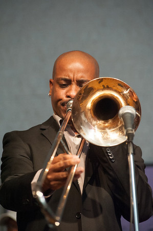 Reginald Cyntje shows his chops on trombone.