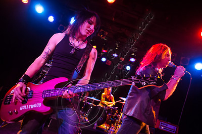 WEST HOLLYWOOD, CA - NOVEMBER 10:  Bassist Justin Emord (L) and vocalist Ryan Hudson of Love and a .38 perform at The Roxy Theater on November 10, 2012 in West Hollywood, California.  (Photo by Chelsea Lauren/WireImage)