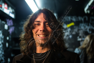 WEST HOLLYWOOD, CA - NOVEMBER 10:  Guitarist Domo Domaracki of Love and a .38 backstage at The Roxy Theater on November 10, 2012 in West Hollywood, California.  (Photo by Chelsea Lauren/WireImage)