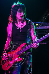 WEST HOLLYWOOD, CA - NOVEMBER 10:  Bassist Justin Emord of Love and a .38 performs at The Roxy Theater on November 10, 2012 in West Hollywood, California.  (Photo by Chelsea Lauren/WireImage)