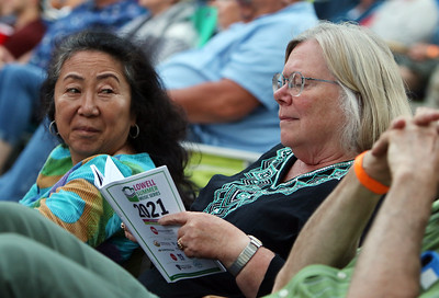 The Eagles Hotel California, a tribute band, plays at Boarding House Park in the first concert of the 2021 Lowell Summer Music Series. Theresa Park of Lowell, left, and Sue Dawson of Chelmsford. SUN/Julia Malakie