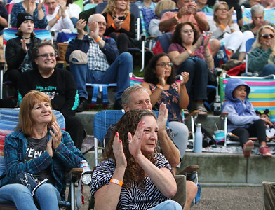 The Eagles Hotel California, a tribute band, plays at Boarding House Park in the first concert of the 2021 Lowell Summer Music Series. Jill Kohlenberger of Lowell, front. SUN/Julia Malakie
