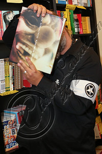 "WEST HOLLYWOOD, CA - JUNE 29:  Musician M. Shawn Crahan aka ""Clown"" of Slipknot attends the book signing of ""Apocalyptic Nightmare Journey"" at Book Soup on June 29, 2012 in West Hollywood, California.  (Photo by Chelsea Lauren/WireImage)"
