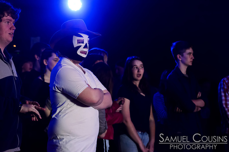 An audience member in a luchador mask - part of Mark It Zero's show - at the MAMM Slam.