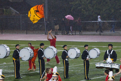 Tossing soaked flags with slick poles in that wind cannot be easy, but the Spartan Guard still managed to take second place against the bands who performed in dry conditions.