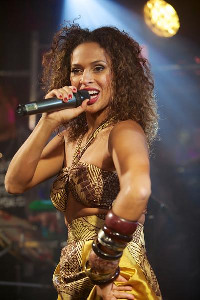 Brazilian singer Renata Jambeiro singing at MIDEM 2014