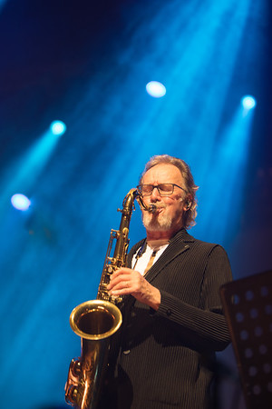 John Helliwell from Supertramp performs with the Mandoki Soulmates in the Cannes Palais des Festivals at Midem 2017