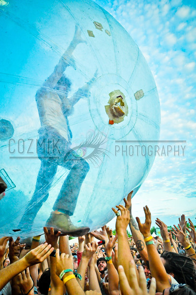 Firefly Fest 2012, Dover Downs DE<br /> Wayne in the hamster ball<br /> Flaming Lips<br /> *CosmicVibesLive.com - official festival coverage*