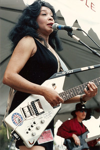 Lady Bo and Wally Malone - playing with Bo Diddley at a festival in San Jose, CA 1987.