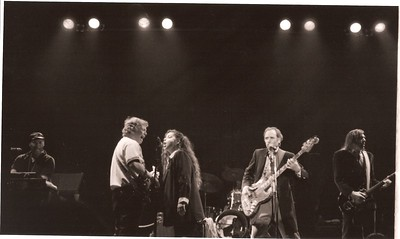 Merle Saunders, Barry Melton, Michele Pfeiffer, Peter Albin & John Cipollina - about 1987 at the The Fillmore in San Francisco, CA... The Dinosaurs. This was Cipollinas' last public appearance before he died.