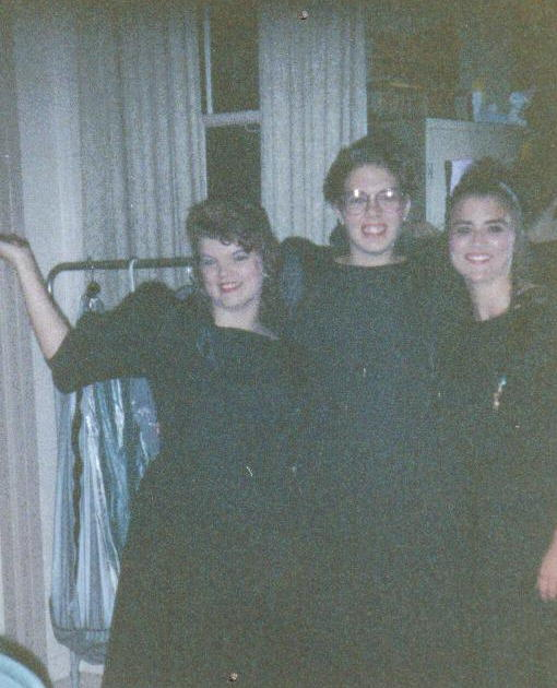 "(l to r) Pam Nail, Dawn Phillips, & Janae Gibson - the illustrious Second Sopranos of the 1991-92 McGavock Madrigals.  This pic was taken in the choir room of Vine St. Christian Church just before our 1992 Spring Concert (during which we OWNED on ""Gia torna""!)."