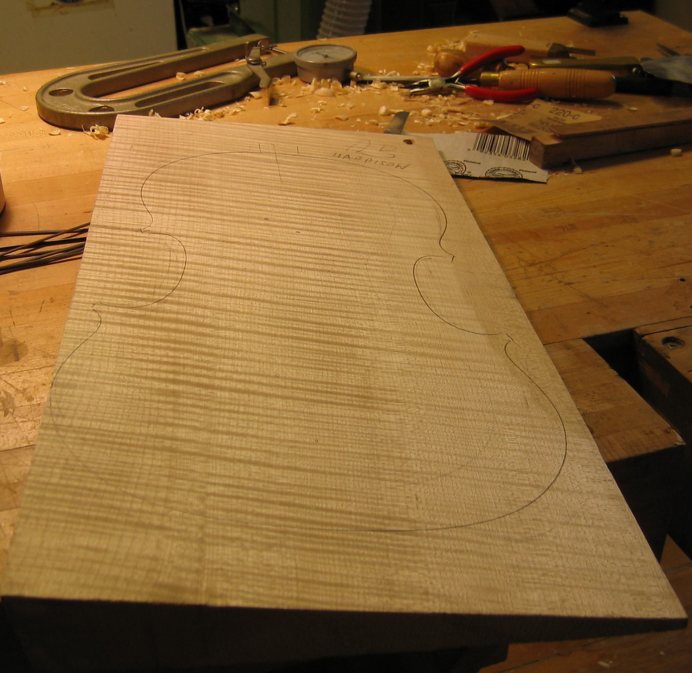 The viola was begun with the outline traced on a slab of maple.