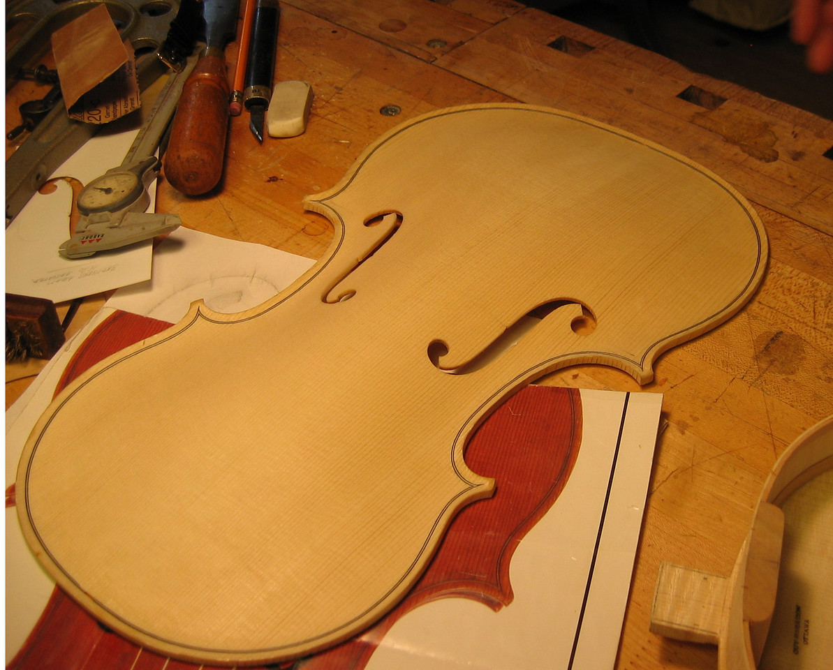 July 13 - Top of viola with finished f-holes.