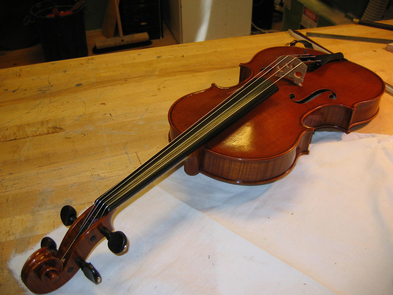 October 7 - from the peg end, the viola looks long but in fact the body is only 15 5/8 inches. I played it for awhile and it sounded great, even into high positions on the C string.