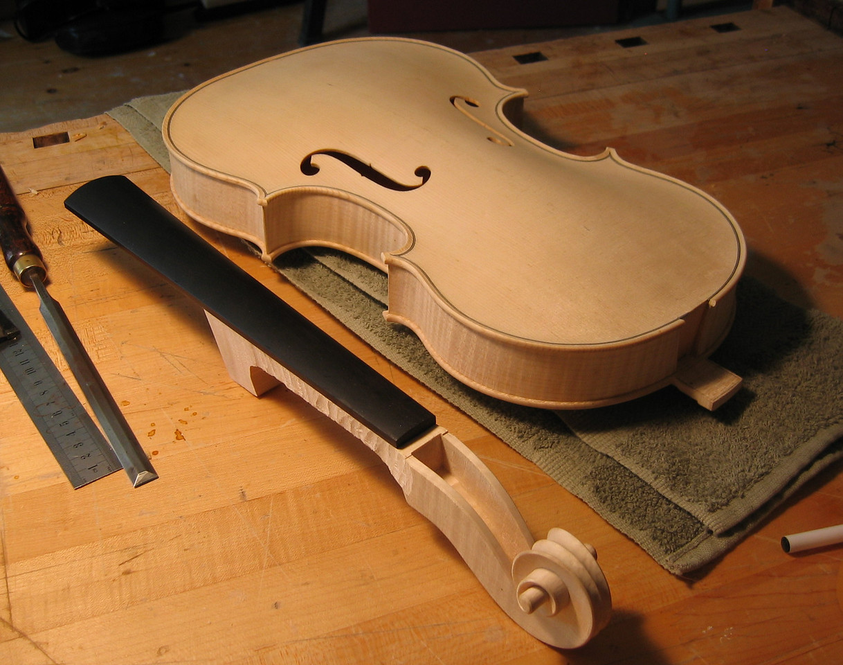 August 18 - The fingerboard is attached to the neck which is ready to be glued to the viola.