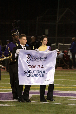 State Playoff Game half time and new National Championship banner, Nov 14, 2013