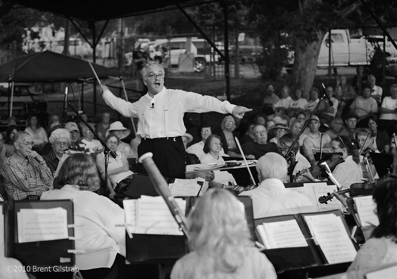 """MSO Plays the County Fair"" (B&W)<br /> Amiga Stage, County Fairgrounds<br /> Mariposa, CA"