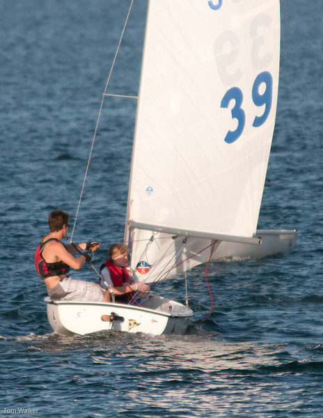 CJ and Madie just rounded the Windward Mark and setting up for a reach.