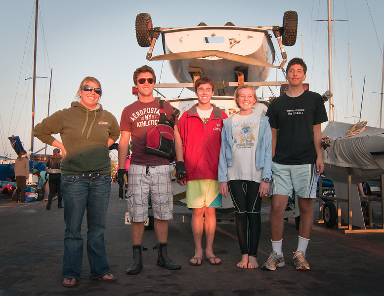 Team Photo at the end of a great day of sailing, lot's of fun for everyone!<br /> Coach Katie Tinder, CJ, Thomas, Madie, Alex