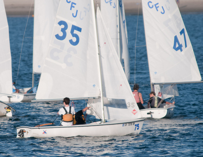Thomas and Alex in #35 setting up to run Downwind after rounding the Windward Mark.