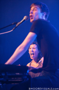 Kim Schifino (bottom) and Matt Johnson perform during Matt & Kim's sold-out show on October 15, 2010 at State Theatre in St. Petersburg, Florida.