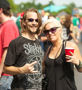Wade Sutherland and Whitney Lanham of Mt. Washington at Riverbend Tuesday for Mayhem Fest