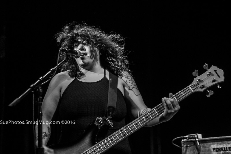 Dana James on bass guitar for Helms Alee, opening for Melvins at the Calvin Theater, Northampton, Massachusetts. 27 August 2016.