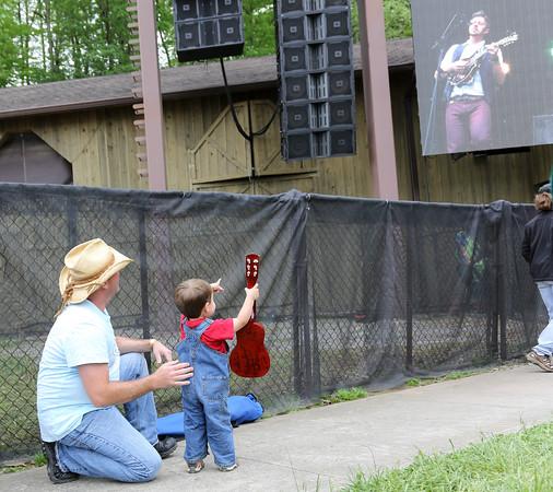 The Littlest Picker enjoys music at Merlefest.