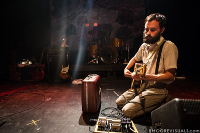 Aaron Weiss of mewithoutYou sets up before performing on August 8, 2012 in support of Ten Stories at State Theatre in St. Petersburg, Florida
