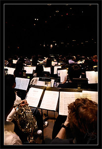 From the Back  View from the horn section into the Michigan Theater darkness  Christopher Rountree, music director  Sound Check Rehearsal Michigan Theater  Michigan Pops Orchestra  05-ARP-2009