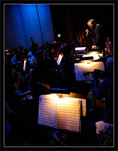 Stand View  View from the 1st violin section  Christopher Rountree, music director  Sound Check Rehearsal Michigan Theater  Michigan Pops Orchestra  05-APR-2009