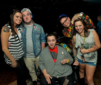 Puck (center) and the gang at Bogart's Wednesday for Mike Posner