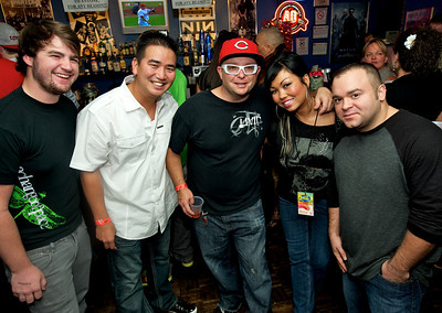 Jeb, Will, DJ Toad, Holly Morgan from Q102, and DJ Sab at Bogart's Wednesday for Mike Posner