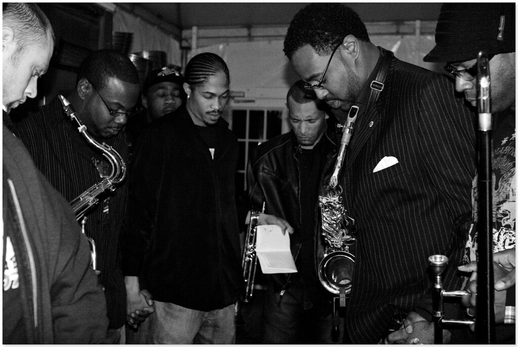Zzaje' MGD's The Craft House Band whose versatility allows them to switch from soul, funk, jazz, hip-hop-, rock and classical , all with ease.  Just before going on stage.