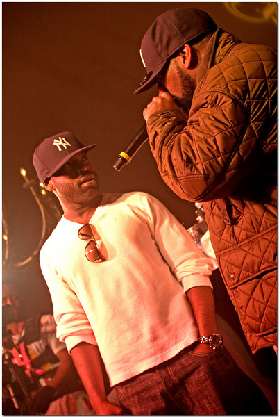 """Left - Black Thought.   Tariq Luqmaan Trotter better known as Black Thought, is the lead MC of the Philadelphia based hip hop group, The Roots. Black Thought is lauded for his politically aware content, and his sharply honed live performances.  Right - Raekwon """"The Chef"""""""