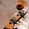 Double-bass scroll showing tuners, tuning gears, volute, and wood grain