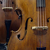 Violin-cornered double-bass showing f-hole, bridge, four strings and part of ebony finger board.