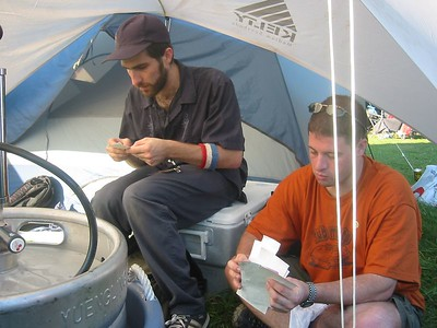JB and Pete picking out cute fuzzy stickers