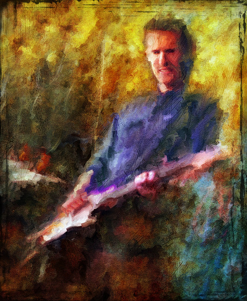 "Lean Back.<br /> Guitarist Flemming Danielsen of ""The Jagged Soul"" at Mojo Bluesbar, Copenhagen, Denmark.<br /> Photo painted with digital sargent brush in Corel Painter + texture layers."