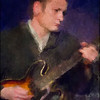 """Ronni Cash"" - painting.<br /> Ronni Boysen: guitar at Mojo Blues Bar, copenhagen.<br /> Photo painted with digital impressionist chalk brush in Corel Painter + texture layers."