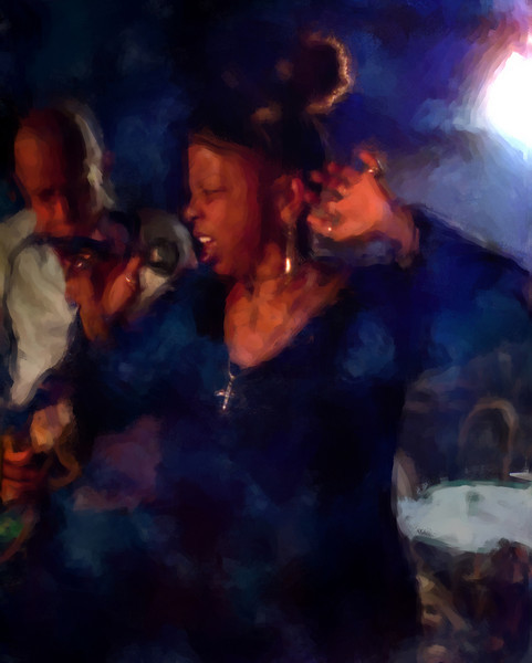 Now, You Listen to Me!!<br /> Vocalist Lillian Boutté and guitarist Kenn Lending at Mojo Bluesbar, Copenhagen, Denmark.<br /> Photo painted with digital impressionist chalk brush in Corel Painter.