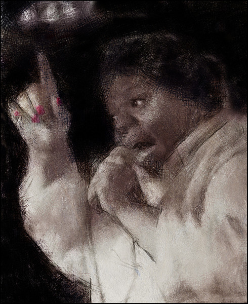 Point.<br /> Katherine Davis: vocal at Mojo Blues bar, Copenhagen.<br /> Photo painted with digital charcoal + texture layers.