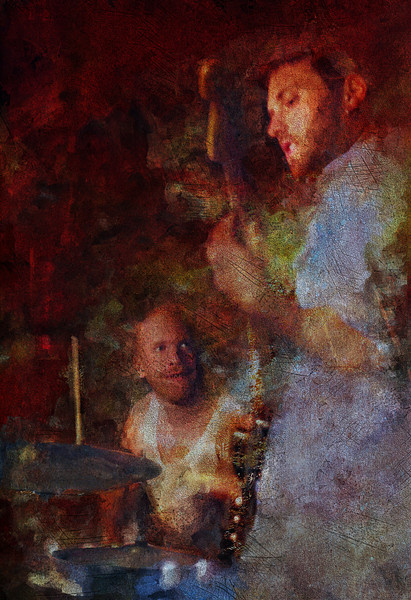 "Men at Work.<br /> Guitarist Flemming Danielsen with drummer Jens Stoklund of ""The Jagged Soul"" at Mojo Bluesbar, Copenhagen, Denmark.<br /> Photo painted with digital sargent brush in Corel Painter + texture layers."