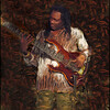 Nana Osibio 1.<br /> Guitaris Nana Osibio at Huset, Copenhagen, Denmark.<br /> Photo painted with smeary oil brush in Corel Painter.
