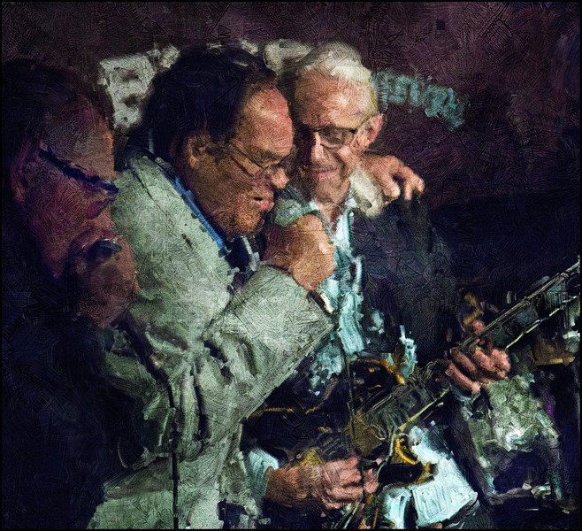 "Old Buddies.<br /> Louisiana Red, vocal,  with Paul Lamb, organ, ""busted"" the concert of Kenn Lending at Husets Cafe, Copenhagen.<br /> Photo painted with digital impasto oil brush in Corel Painter + texture layers."