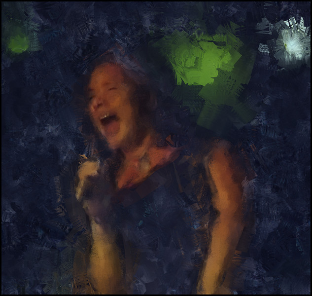 Blast.<br /> Lea Thorlann, vocal at Mojo Blues Bar, Copenhagen.<br /> Photo painted with digital sargent brush in Corel Painter + texture layers.