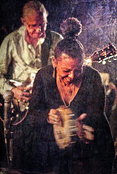 Tambourine Girl.<br /> Vocalist Lillian Boutté and guitarist Kenn Lending at Mojo Bluesbar, Copenhagen, Denmark.<br /> Photo with layered texture.