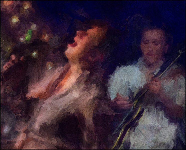 High Strings.<br /> Kat Baloun: vocal and Ronni Boysen: guitar at Mojo Blues Bar, Copenhagen.<br /> Composite photo painted with digital impressionist sargent brush in Corel Painter + texture layers.