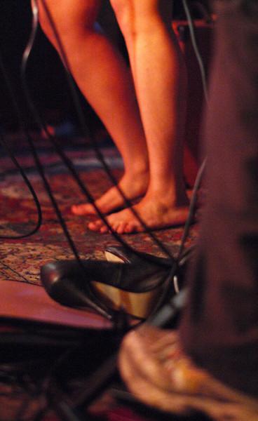 Drop your shoes, when you do the Blues.<br /> Feet of vocalist Sarah da Silva at the floor of Mojo Bluesbar, Copenhagen, Denmark.