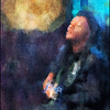 Sun Blues.<br /> Blues singer / guitarist Alain Apaloo at Cafe Intime, Copenhagen.<br /> Alain was performing in front of a big brass plate hanging on the wall - which in the process became a sun.<br /> Photopainting with digital impressionist chalk brush in Corel Painter + texture.